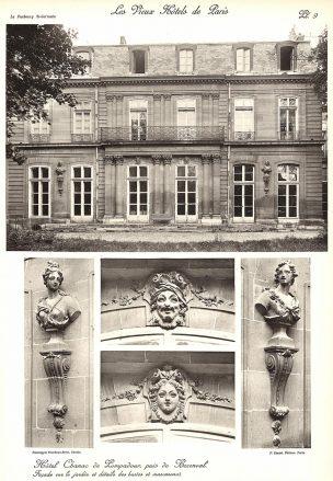 Plansza numer 9 - Fasada od strony ogrodu i szczegóły popiersi i maskaronów