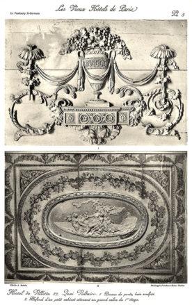Plansza numer 3 - 1. Górna część drzwi, rzeźbione drewno. 2. Sufit małego gabinetu przylegającego do wielkiego salony na pierwszym piętrze.