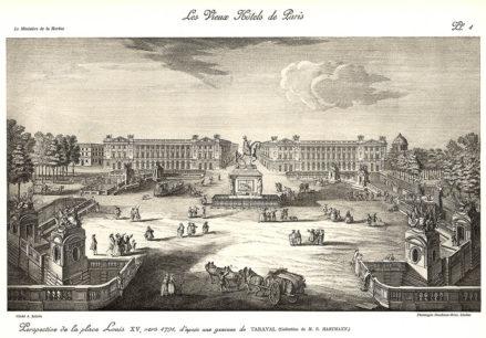 Plansza numer 1 - Widok na Plac Ludwika XV, około 1791r., na podstawie ryciny Taraval'a