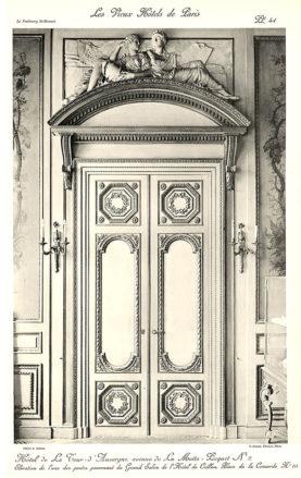 Plansza numer 41 - Elewacja jednych z drzwi pochodzących z dużego salonu Hotelu Crillon.