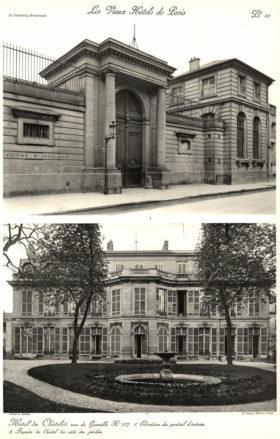 Plansza numer 10 - 1. Elewacja portalu wejściowego. 2. Fasada hotelu od ogrodu.
