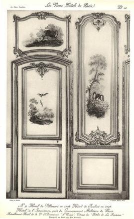 "Plansza numer 10 - Hotel de Villemare 1708. Hotel Joubert 1778. Hotel Intendentury, później Zarządu Wojskowego Paryża. Obecnie Hotel de la Cie d'Assurances ""Unia"". Gabinet ""Bajek de la Fontaine'a""."