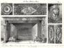 """Plansza numer 23 - Hotel de Grammont 1704. Wielki salon na pierwszym piętrze. Kominek marmurowy (morska zieleń), aplikowany brązem i tematami na niebieskim tle""""wedgwood"""". Długość 1.8m, wysokość 1.06m."""