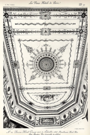 Plansza numer 26 - Dawny Hotel Crozat 1703 de Schickler 1828. Obecnie Hotel Ritz. Mały buduar. Widok ogólny na sufit.