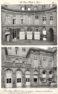 Plansza numer 32 - Dawny Hotel d'Evreux. Podwórze reprezentacyjne. 1. Strona od kamienic przy placu Vendome. 2. Strona od kamienic przy dawnym hotel Crozat numer 17.