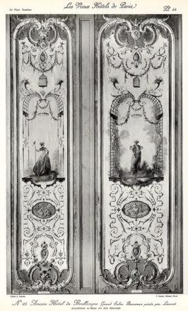 Plansza numer 44 - Dawny Hotel de Boullogne, Wielki salon. Płyty malowane przez Lancreta. Obecnie w Muzeum Sztuk Dekoracyjnych.