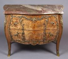 veneered with brazilian rosewood, bronze, marble top, end of XIX thC