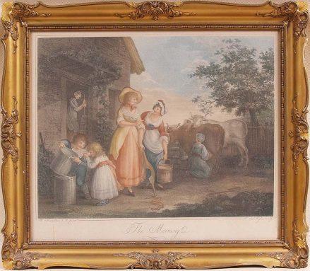 miedzioryt punktowany, ręcznie kolorowany, z kon. XVIII w.