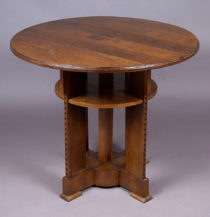 veneered with oak, inlay, c. 1900