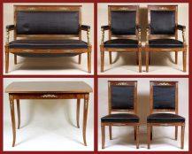 sofa, 2 fotele, 2 krzesła i stół, masyw mahoń, okucia mosiądz i brąz złocony, ok. 1900r.