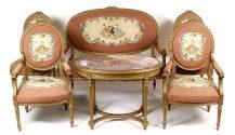 sofa, para foteli, para krzeseł i stolik, drewno liściaste, złocone, ok. 1900r.