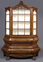 konstrukcja dębowa, okleiny orzechowe, snycerka mosiężne okucia Holandia, połowa XIX w.