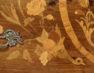 okleiny palisander, intarsje z różnych gatunków drewna, kon. XIX w.