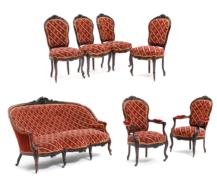 sofa, para foteli, cztery krzesła, masyw palisander, snycerka, poł. XIX w.