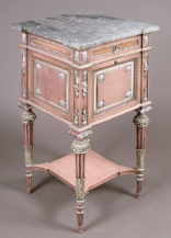 oak construction, polychrome, silvering, marble top, c. 1900