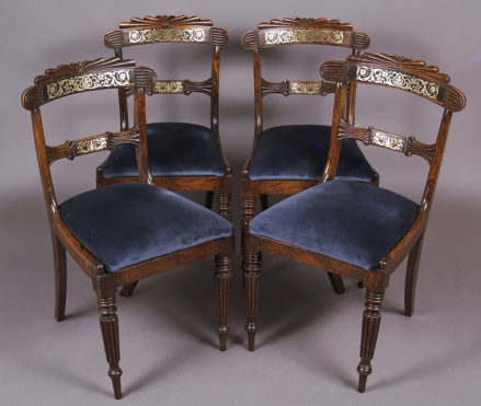 ash construction, simulated rosewood, detailed brass inlay, England c.1820