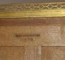okleiny mahoniowe, mosiężne listwy i okucia, blat marmur, Paryż II połowa XIX w.