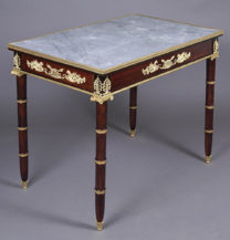 massif mahogany, table top marble, gilt bronze, II half of the XIX thC