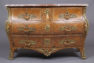 veneered with brazilian rosewood and walnut, marble top, bronze, France 19thC