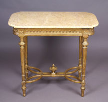 wood construction, gilded, marble top, c. 1900