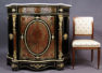 embellished with brass-inlaid and tortiseshell, gild bronze, marble top, late 19thC,