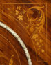 veneered with brazilian rosewood, gilded brass, table top marble, c. 1900.