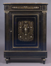 mahogany construction painted black, Ebonized with brass and ivory, c. 1900