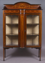 inlaid with satinwood and olive wood into the exotic imported mahogany, England c. 1900