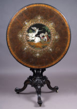 "marquetry with mother of pearl, tin, brass, ebony and ivory, sig.""C.Plambeck Hamburg 1860""."
