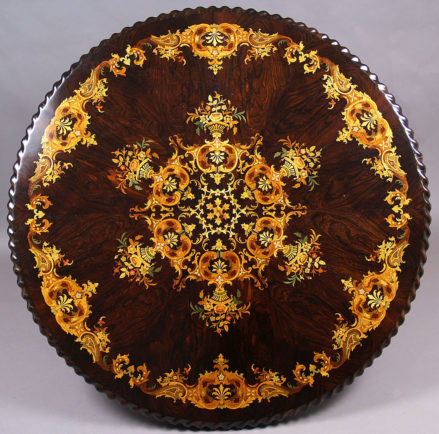 veneered with brazilian rosewood, inlay from different kinds of wood, richly decoration, II half of the XIX thC