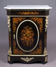 veneered with mahogany and ebony, inlay from different kinds of wood, brass, table top marble, late 19thC
