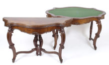 veneered with mahogany, carvings late 19thC,