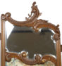 konstrukcja orzech, złocenia, malatura gwasz na desce, snycerka, zawiasy dwustronne, około 1900r.