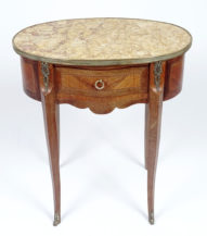 walnut and rosewood veneer, brass, early 20thC.