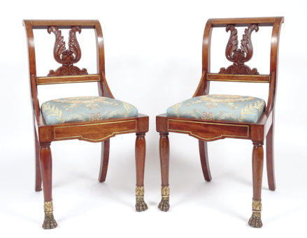 veneered with mahogany, polychromy and gildings, mid 19thC