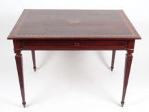 veneered with mahogany, marquetry of different wood species, first half of 19thC,