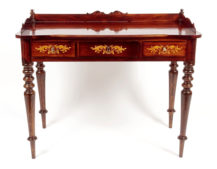 veneered with rosewood , marquetry of different wood species, carvings, late 19th