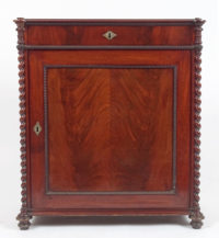 veneered with mahogany, carvings, brass fittings, mid 19thC