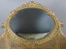 Konstrukcja drewno liściaste, polichromia, złocenia, oryginalne lustro, szklana tafla na blacie ozdobionym tkaniną, rafia, początek XX w.