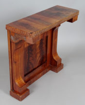 The construction of pine, venereed with mahogany, wooden veins, carvings, ca. 1830.