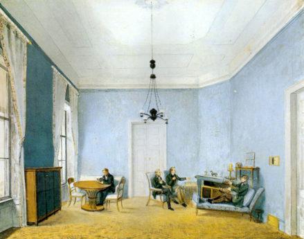 Męski salon Kinskych na zamku w Kostelec nad Orlicí, 1837r.