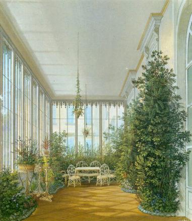 Ogród zimowy w zamku w Nové Hrady, 1849r.
