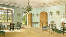 Wnętrze domku Buquoy's w Nové Hrady, prawdopodobnie 1849r.