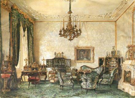 Salon Buquoy w Pałacu Wiedeńskim (pierwsza połowa pokoju), 1851r.
