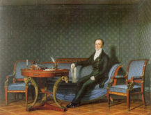 Hrabia Karel Chotek przy stole z akcesoriami do pisania, 1815-1818r.