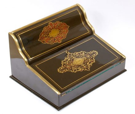 embellished with brass-inlaid and tortiseshell