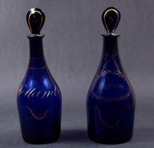 cobalt glass, gildings ca c1790