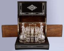 veneered with ebony and rosewood, inlaid with bone, II half of the XIX thC,
