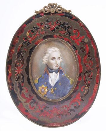 Gouache on ivory, Boulle type frame, II half of the 19thC