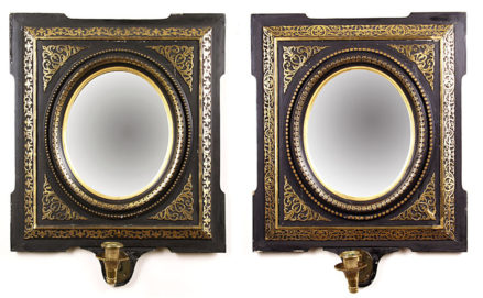 polychrome and gilding, woodcarving, brass sconces, late 19thC